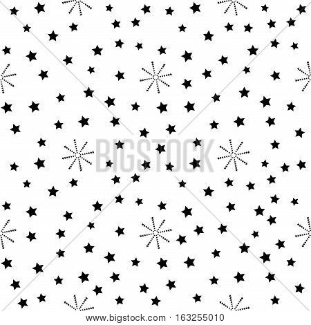 Star seamless pattern. Fashion graphic background design. Modern stylish abstract texture. Monochrome template for prints textiles wrapping wallpaper website. Vector illustration.