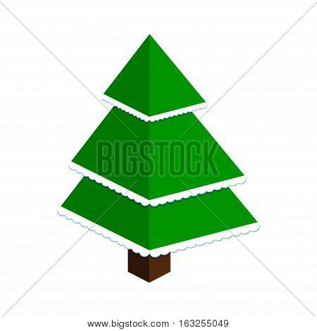 Abstract christmas tree made of green triangles with snow. Isolated on white. Vector illustration.