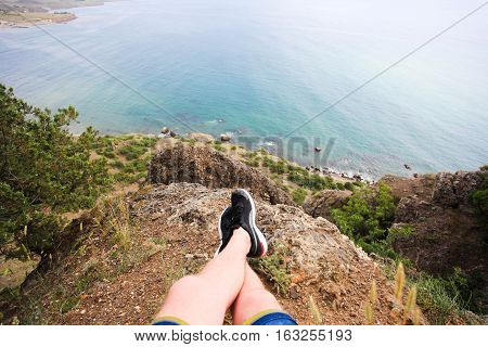 nice view from the mountains to the sea in the first person