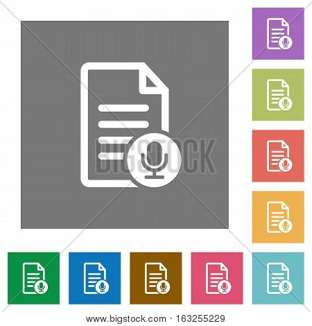 Voice document flat icons on simple color square backgrounds