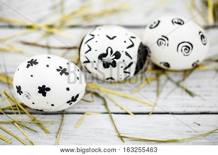 Easter Composition With White Eggs  Black Pattern