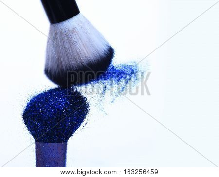 Soft Cosmetics Brushes With Blue Glister