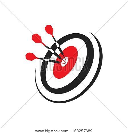 Target with three darts, using dart in the bullseye on dartboard business success concept, Goal setting and SMART, icon, symbol, logo, vector illustration on isolated white background.