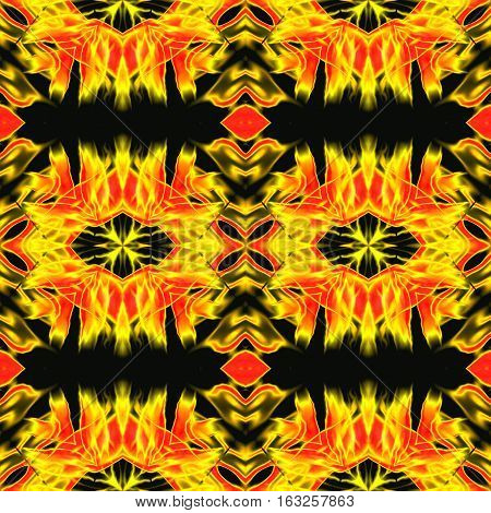 Abstract seamless kaleidoscopic infernal pattern with yellow and red fires. Gold and red hot pattern with stylized flames on a black background