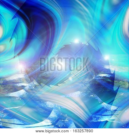 Abstract water background with turbulent waves and flares. Blue, white, turquoise and dark blue rippling background