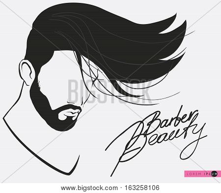 Barbershop beard Mustache Hairstyle.Hipster barbershop european man with beards moustaches and stylish haircut, silhouette of a man s face in profile, lettering.banner, poster for salon, isolated vector