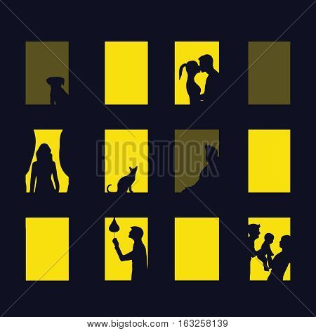 window city at night. Vector illustration of apartment blocks with windows, in which the gap silhouettes of people, girls, boys, baby, cat, dog. different life