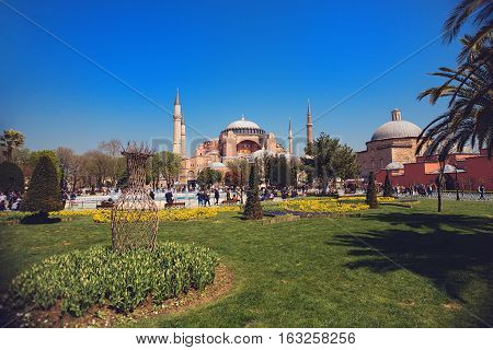 ISTANBUL - APRIL 11 2015: Haghia Sophia - famous church and mosque in Istanbul in sunny day