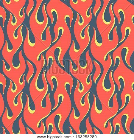 Red with yellow fire flames on a dark blue background, old school seamless vector pattern