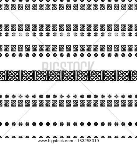 Celtic knot seamless black and white pattern. Striped ethnic abstract background.