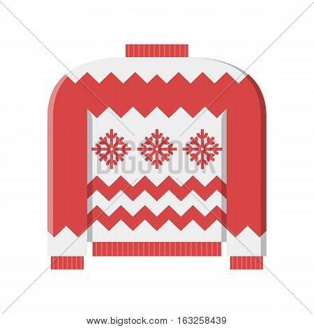 Red winter ugly sweater vector illustration in flat design.