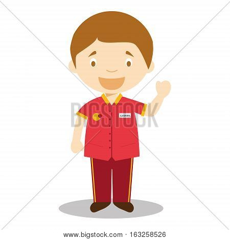 Cute cartoon vector illustration of a clerk or a cashier