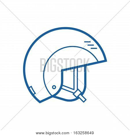 Snowboard or ski helmet vector icon. Skiing and snowboarding helm thin line pictogram. Snowboarder protective hat in outline design.
