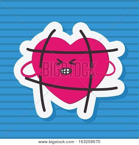 Fashion patch heart, that breaks the bars imprisoned.Message the freedom of love.Vector illustration isolated on blue background.sticker, pin, LGBT symbol, icon, sign, cartoon 80s-90s comic style