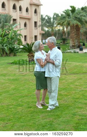Portrait of a mature couple on vacation, enjoy travel
