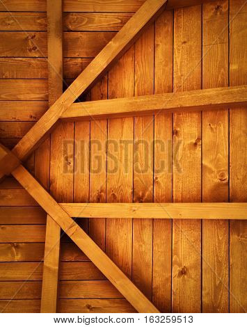 background or texture wooden roof truss detail
