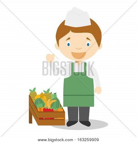 Cute cartoon vector illustration of a fruit seller