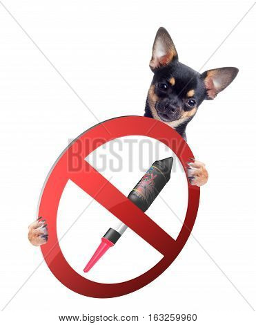 Chihuahua have sign board between the with forbidden fireworks