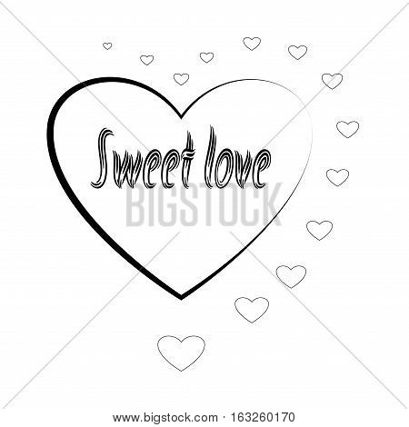 T shirt typography graphic with quote Sweet love. Fashion print for sports wear. Template for t shirt apparel card poster. Design element. Heart couple symbol of love. Vector illustration