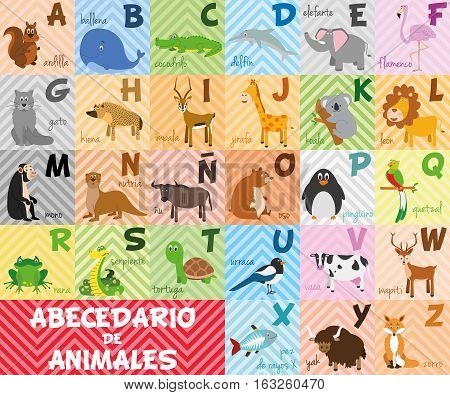Cute cartoon zoo illustrated alphabet with funny animals. Spanish alphabet. Learn to read. Isolated Vector illustration.