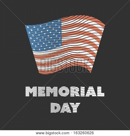 Engraved color Memorial day badge on a black background