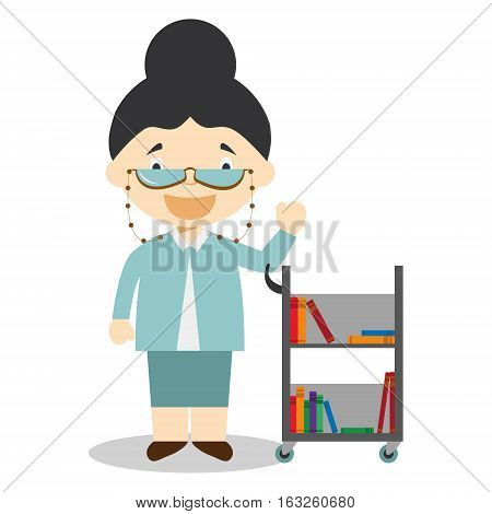 Cute cartoon vector illustration of a librarian