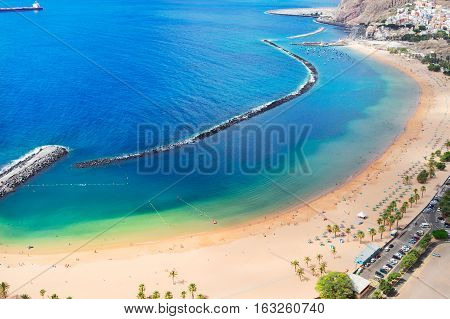 aerial view of coast line Las Teresitas beach, Tenerife