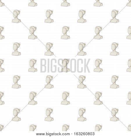 Female statue head pattern. Cartoon illustration of female statue head vector pattern for web