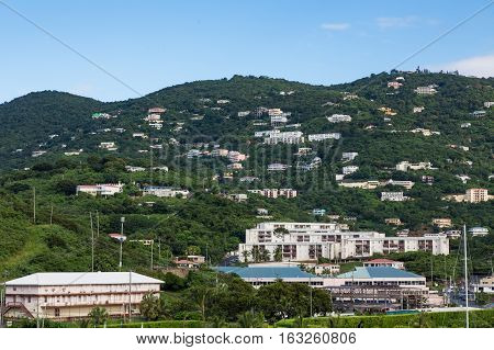 Resort Homes on Green St Thomas Hills over Harbor