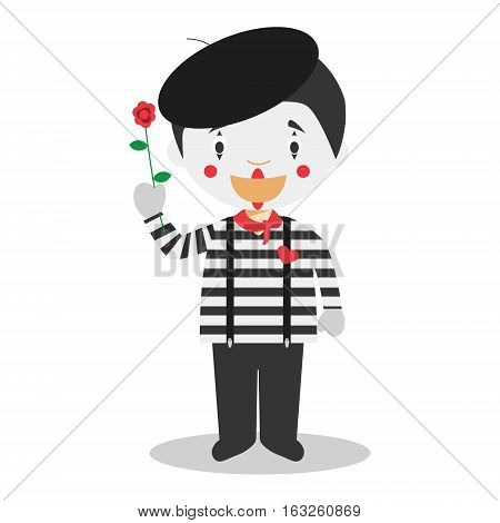 Cute cartoon vector illustration of a mime