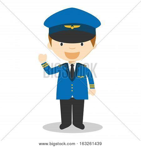 Cute cartoon vector illustration of a pilot