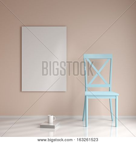 Mockup poster in the interior with a chair, a book and a cup, 3d rendering