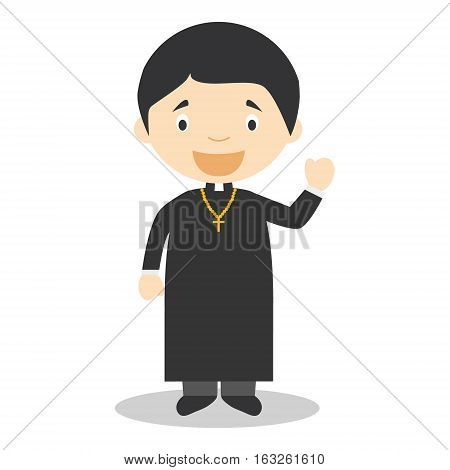 Cute cartoon vector illustration of a priest