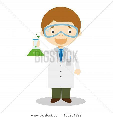 Cute cartoon vector illustration of a scientist