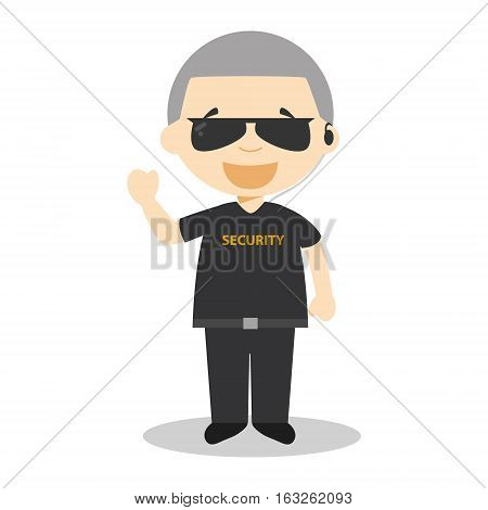 Cute cartoon vector illustration of a security guard