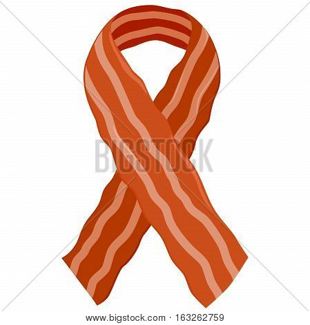 Vector iconic illustration of a bacon slice ribbon