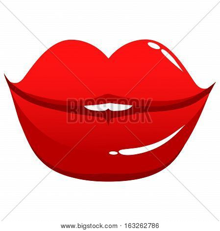 Vector Illustration of sexy female lips on white background, isolated.