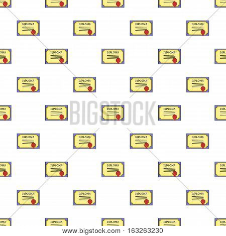 Diploma pattern. Cartoon illustration of diploma vector pattern for web