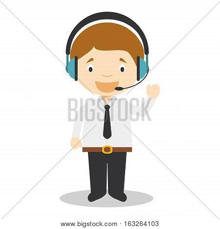 Cute cartoon vector illustration of a telemarketing phone operator