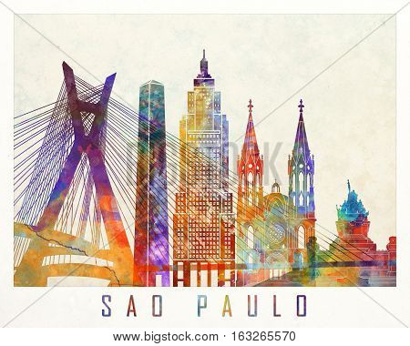 Sao Paulo landmarks in artistic watercolor poster