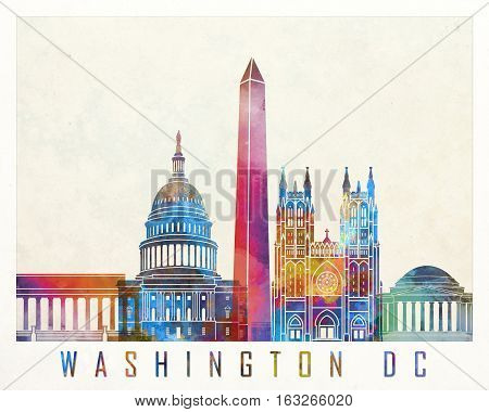 Washington DC landmarks in artistic watercolor poster