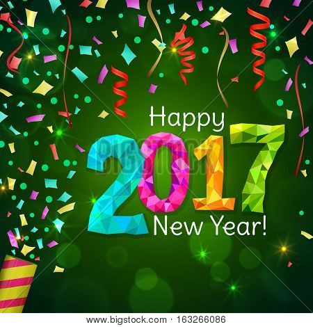 Happy New Year 2017 greeting card. Festive illustration with colorful confetti, party popper and sparkles on green background. Vector.