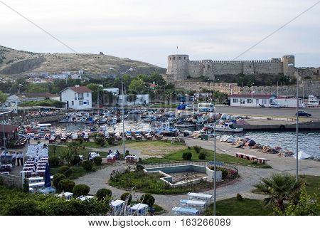 Tenedos castle and harbor restaurants in Bozcaada/Canakkale/Turkey