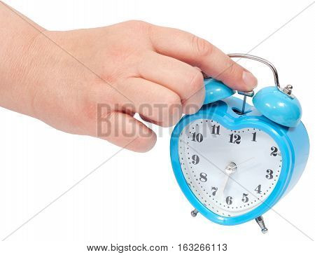 a woman hand Turning Off Alarm Clock. (with clipping paths)