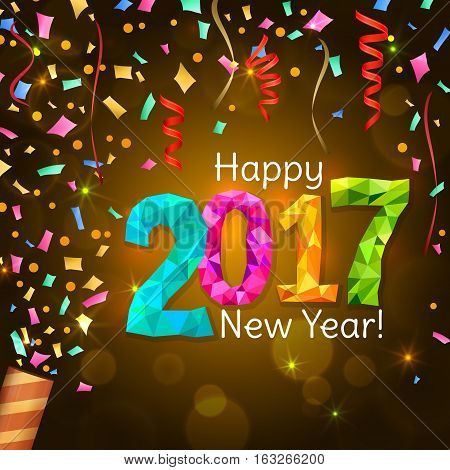 Happy New Year 2017 greeting card. Festive illustration with colorful confetti, party popper and sparkles on yellow background. Vector.