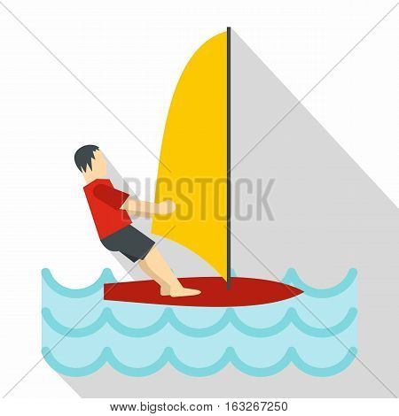 Windsurfing icon. Flat illustration of windsurfing vector icon for web