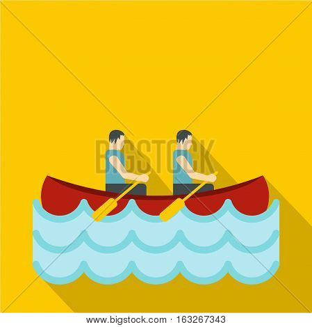 Canoe with two athletes icon. Flat illustration of canoe with two athletes vector icon for web