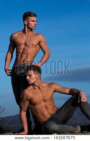 Handsome Twin Men Or Bodybuilders