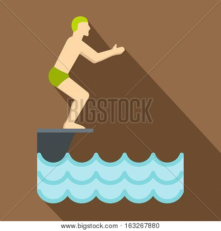 Flat illustration of standing on springboard, preparing to dive vector icon for web