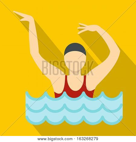 Dancing figure in a swimming pool icon. Flat illustration of dancing figure in a swimming pool vector icon for web